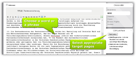 Screenshot of an XWiki extension that allows the user to select some text and search for link targets in the wiki